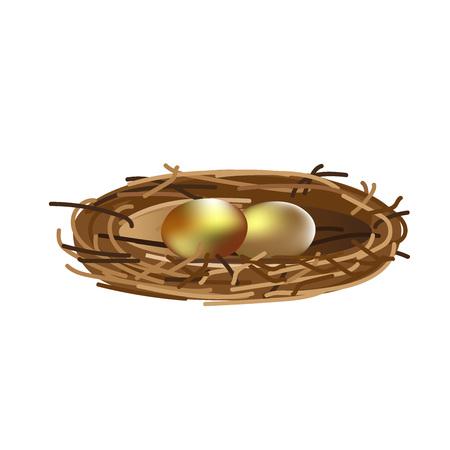 Golden eggs in nest. Vector illustration isolated on white background 일러스트