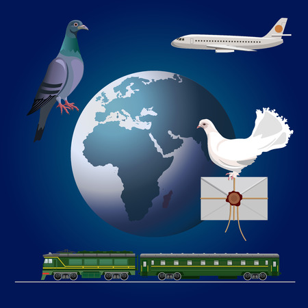 Carrier pigeons set. Vector illustration on the background of the planet Earth