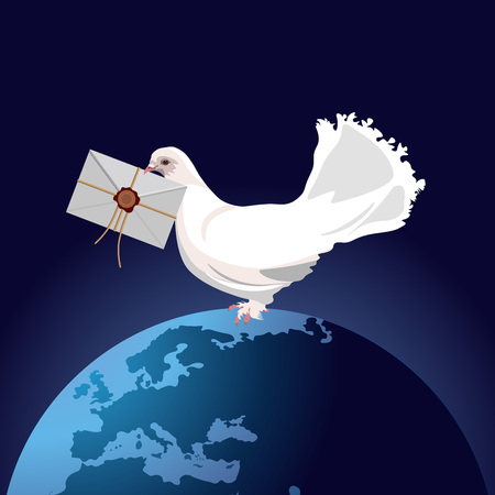 White homing pigeon with letter envelope featuring planet Earth. Vector illustration