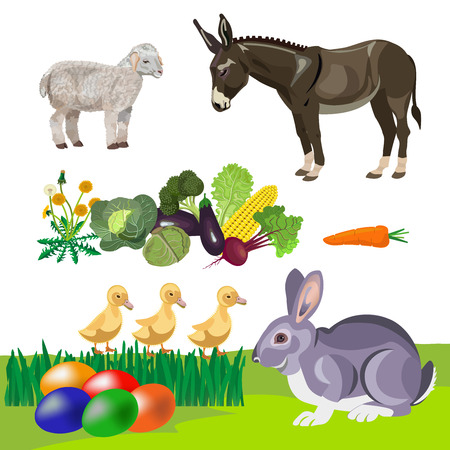 Happy Easter theme with rabbit, colorful eggs in grass and farm animals. Vector illustration isolated on white background Illustration