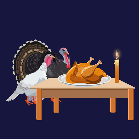 Couple of turkeys looking at a Christmas dish. Vector illustration isolated on the dark background
