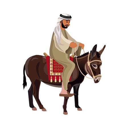 Arab man riding his donkey. Vector illustration isolated on white background