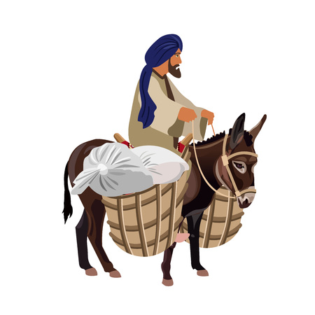 Man riding his donkey with loaded baskets. Vector illustration isolated on white background