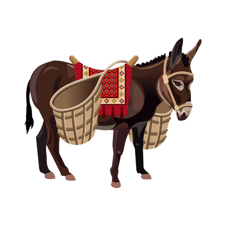 Donkey with wicker baskets. Vector illustration isolated on the white background Иллюстрация
