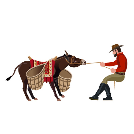 Man pulling a stubborn donkey. Vector illustration isolated on white background