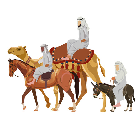 Set of riders on different animals - camel, horse and donkey. Vector illustration isolated on white background Illustration