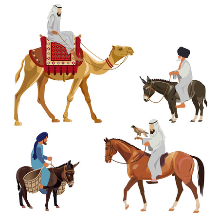 Set of riders on different animals - camel, horse and donkey. Vector illustration isolated on white background Stock Illustratie