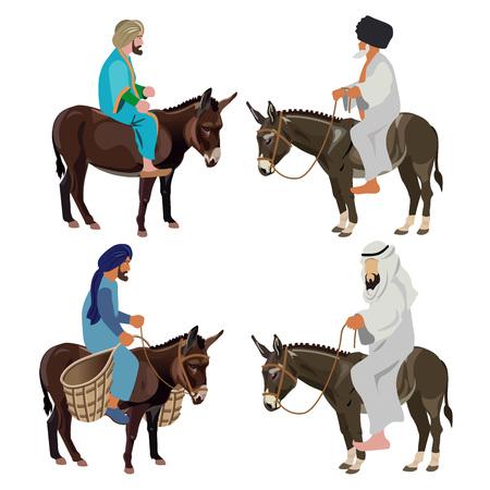 Men riding donkeys. Set of vector illustration isolated on white background