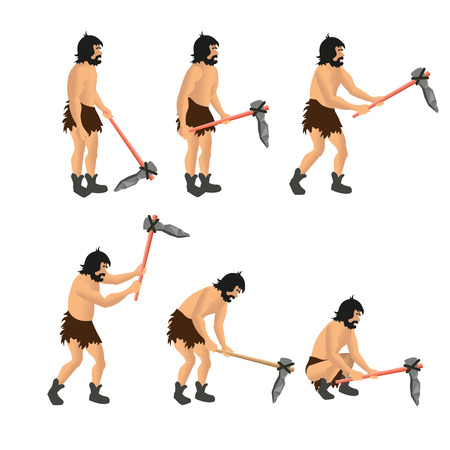 Set of vector figures of primitive man with stone ax. Vector illustration, isolated on white background.