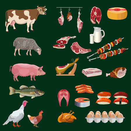 Set of farm animals with varied foodstuffs. Vector illustration isolated on black background. Illustration