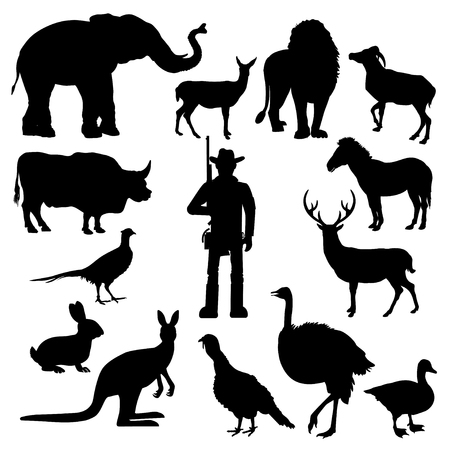 Set of wild animal with hunter. Vector black silhouettes on white background
