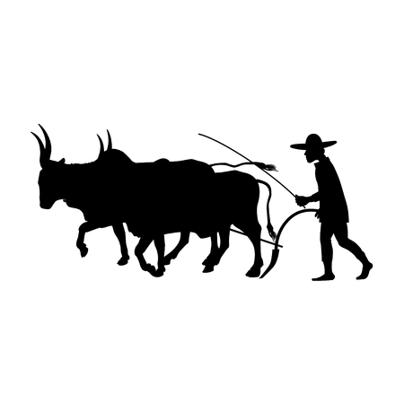 Farmer plowing field with a couple of zebu. Vector black silhouette on white background