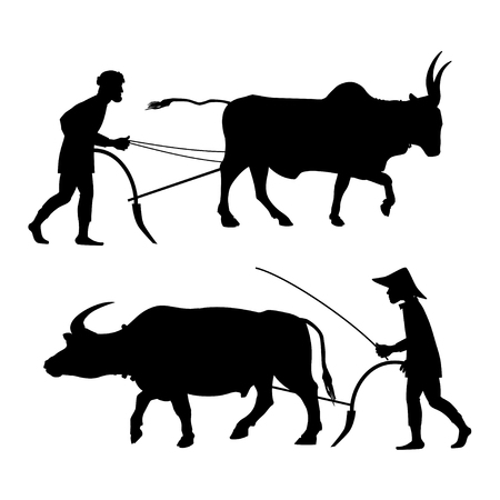 Peasants plow the land with oxen. Set of vector black silhouettes on white background.