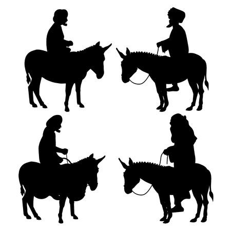 Set of men riding donkeys black silhouettes on white background