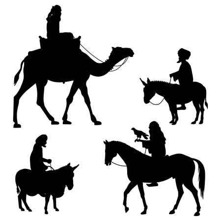 Riders on different animals - camel, horse and donkey. Set of vector black silhouettes on white background Vettoriali