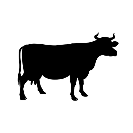 Black silhouette of a cow on a white background