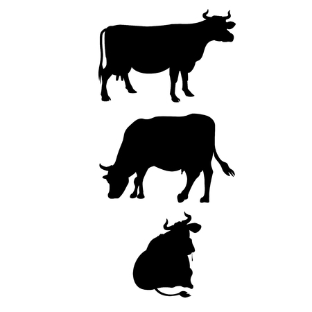 Black silhouettes of a cows on a white background