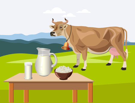 Dairy farm products with a cow against a background of alpine pasture. Vector illustration