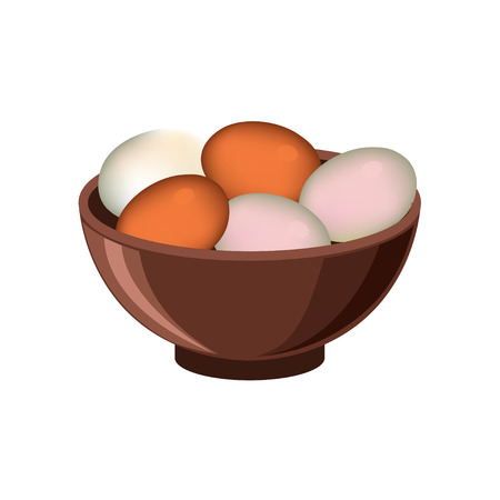 Bowl with eggs. Vector illustration isolated on white background