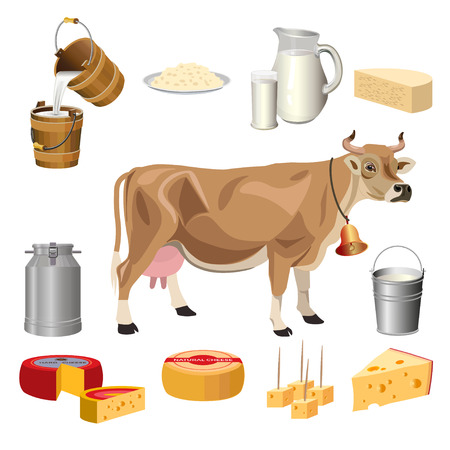 Milk farm products with a cow. Set of vector illustration isolated on white background