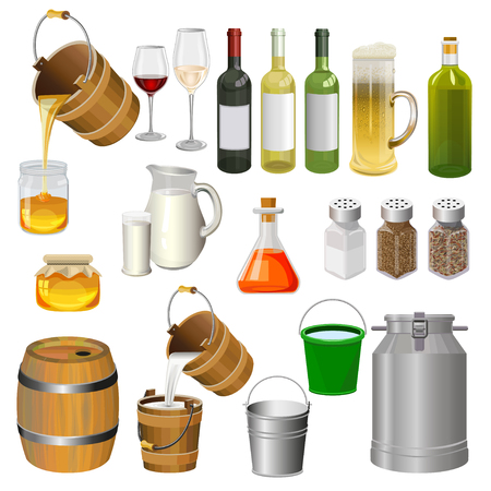 Vector set of various bottles, containers and other kitchen utensils. Illustration, isolated on white background. Illustration