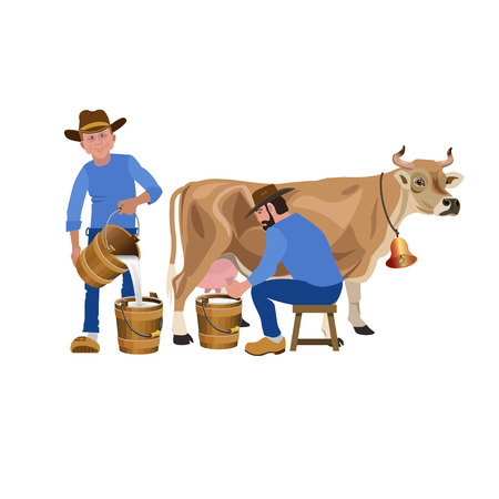 Farmers milking a cow.
