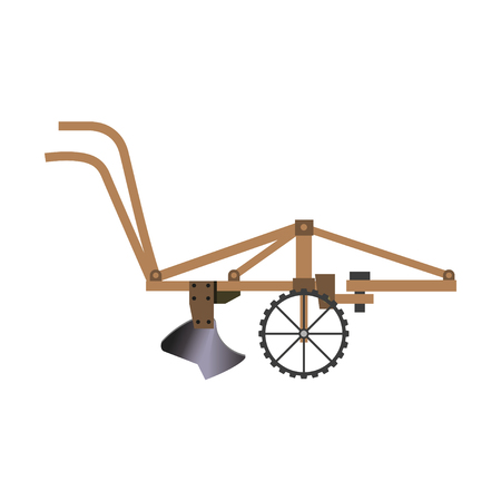 Early tractor-drawn steel plough. Vector illustration isolated on white background