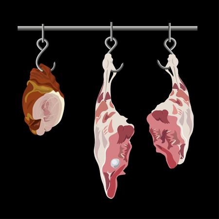 Parts carcasses hanging from meat hooks. Vector illustration isolated on the black background Stock Illustratie