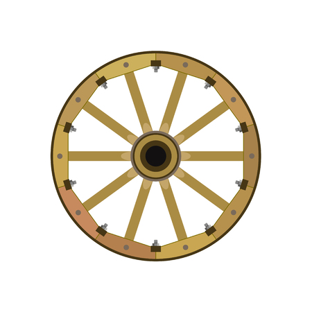 Wooden wheel. Vector illustration isolated on white background