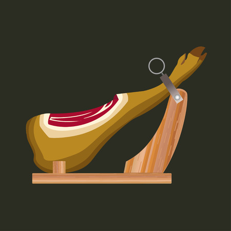 Jamon on the wooden jamonera. Vector illustration on the white background  イラスト・ベクター素材