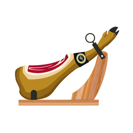 Ham on the wooden jamonera. Vector illustration on the white background Ilustrace