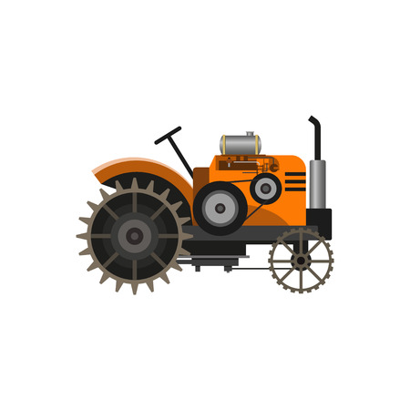 Orange vintage farm tractor, front view. Vector illustration, isolated on white background. Illustration