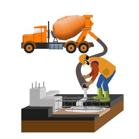 Il lavoratore al cantiere sta versando il calcestruzzo nella muffa dal camion del miscelatore. Illustrazione vettoriale, isolato su sfondo bianco Vettoriali