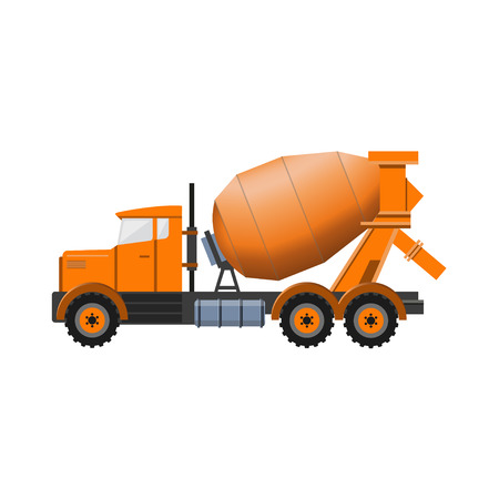 Concrete mixer truck. Vector iluustration isolated on white background