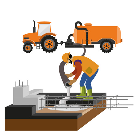 Los trabajadores en la obra están vertiendo hormigón en el molde. Ilustración de vectores aislado sobre fondo blanco