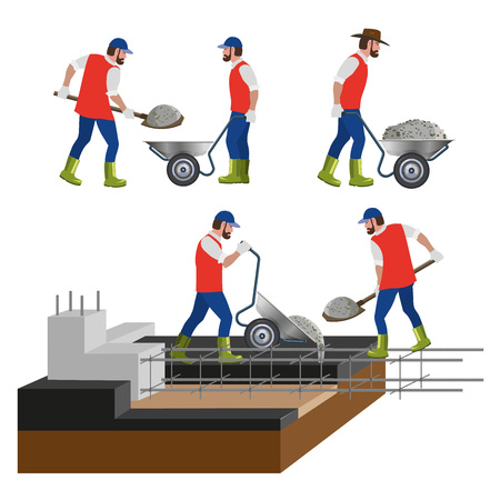 Construction workers are pouring concrete into the foundation of the building. Vector illustration. Stock Illustratie