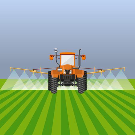 Tractor watering field. Vector illustration design. Vettoriali
