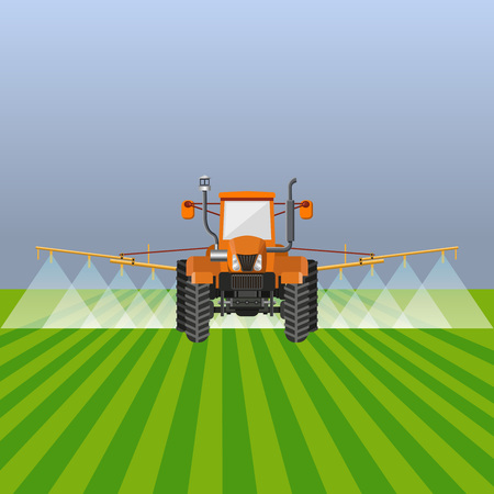 Tractor watering field. Vector illustration design. Çizim