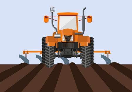 Farm tractor pulling a tiller in field. Vector illustration