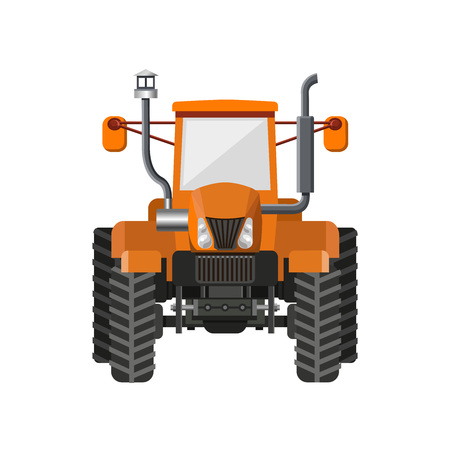 Orange farm tractor front view. Vector illustration isolated on white background