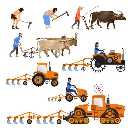Evolutie van de landbouwtractor. Verzameling van vectorillustraties voor infographics geïsoleerd
