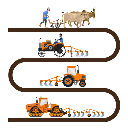 Evolution of the farm tractor info-graphic. Vector illustration, isolated on white background.