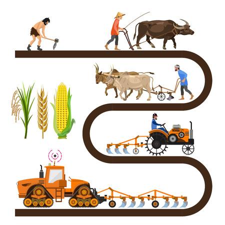 Cronología histórica: herramientas y maquinaria agrícola. Colección de ilustraciones vectoriales para infografía.
