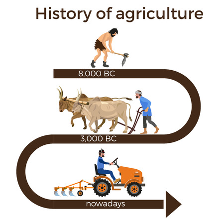 Historical chronology of agriculture. Collection of vector illustrations for infographics Çizim