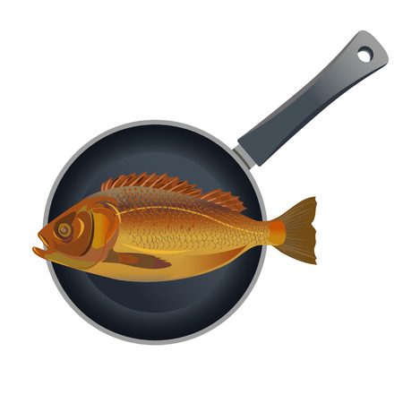 Whole fish on nonstick frying pan. Top view. Vector illustration isolated on white background