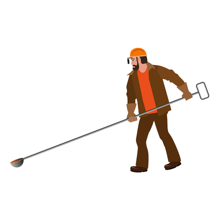 Steelworker with long test spoon. Vector illustration isolated on white background Illustration