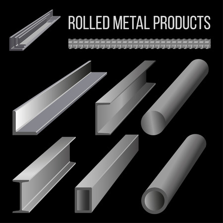 Steel structural sections. Rolled metal products. Vector illustration isolated on black background