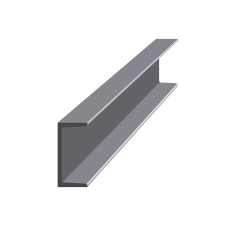 Steel channel isolated on white background vector illustration. Stock Illustratie