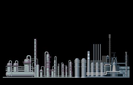 Fabryka przemysłu ciężkiego. Ilustracja wektorowa na białym tle na czarnym tle