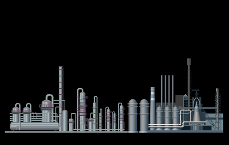 Heavy industry factory. Vector illustration isolated on black background